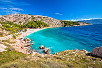 Island of Krk turquoise beach view, famous FKK beach Bunculuka