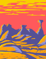 Toadstools at the Grand Staircase-Escalante National Monument Located in Southern Utah United States WPA Poster Art