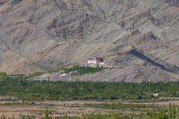 Matho Monastery with the sedimentary rocks of Zanskar Mountains in the background