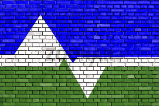 flag of Loveland, Colorado painted on brick wall