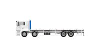 3D rendering of a semi truck trailer transport vehicle isoalted on empty white background.
