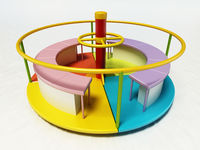 Multi-colored merry-go-round isolated on white background. 3D illustration