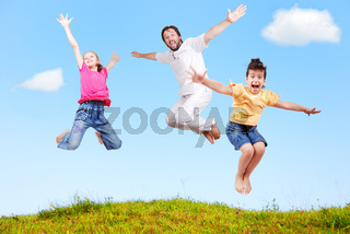 Family happiness outdoor in beautiful natural scene