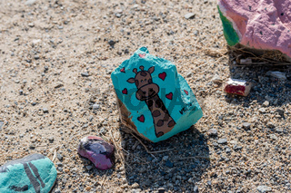 A beautiful different kinds of painted rocks in Lake Elsinore, California
