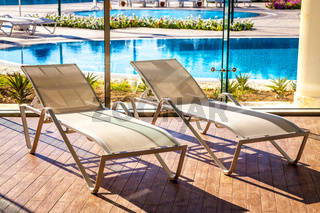 Sunbeds in the indoor swimming pool