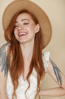 Cheerful woman with ginger hair