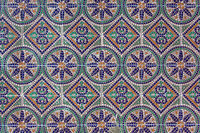 Mosaic with geometric and floral patterns