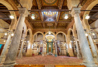 Interior of Mamluk era Imam Al Shafii Mosque, with floral decorated wooden ceiling, Cairo, Egypt