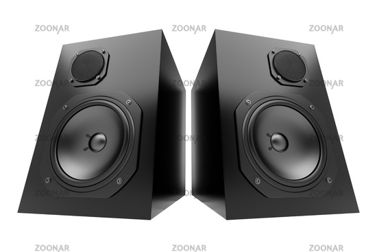two black audio speakers isolated on white
