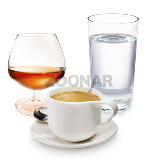 Coffee liqueur and a glass of water