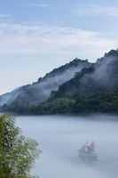 beautiful foggy river landscape in early morning