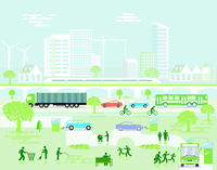 ecological City landscape with road traffic and pedestrians, illustration