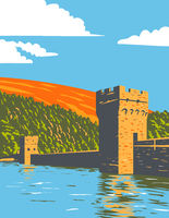 Ladybower and Derwent Reservoirs Within the Derwent Valley Peak District National Park, Derbyshire England UK Art Deco WPA Poster Art