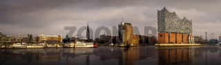 Panorama of the Hamburg skyline with reflection