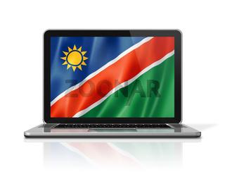 Namibian flag on laptop screen isolated on white. 3D illustration