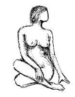 Nude Female Figure Posing Sitting Crossed-Legged Looking to Side Doodle Art Line Drawing