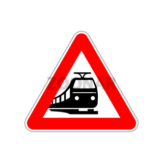 Train silhouette on the triangle red and white road sign on white