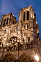 Notre Dame de Paris, facade at dusk