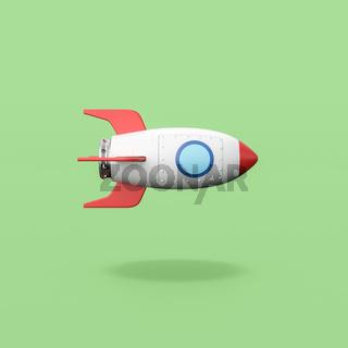 Cartoon Spaceship on Green Background