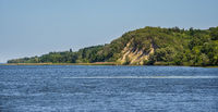 Dnipro river shores summer landscape, Kaniv water Reservoir, Kyiv Region, Ukraine.