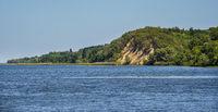 Dnipro river shores summer landscape, Kaniv water Reservoir, Kyiv Region, Ukraine.