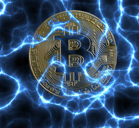 Bitcoin cryptocurrency coin on electric blue background
