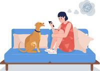 Sad girl look at phone semi flat color vector character