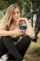 biker with phone