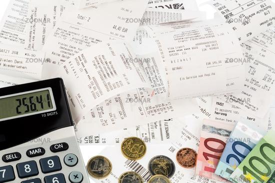 Pocket calculators, receipts, banknotes