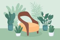 Indoor garden flat color vector illustration