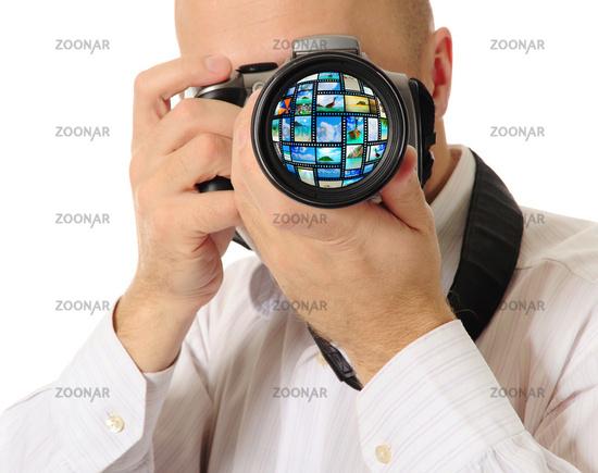 Man holds a camera