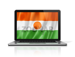 Niger flag on laptop screen isolated on white. 3D illustration