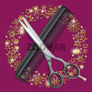 Scissors Comb Golden Snowflakes Stars Ring Christmas