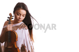 a young asian woman holding a violin instrument