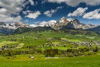 The village of Wildhaus and the Alpstein range with Saentis, Toggenburg, Canton St. Gallen, Switzerl