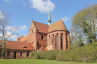 Former Cistercian abbey Chorin in Brandenburg state, choir with transept and turret, from Southeast