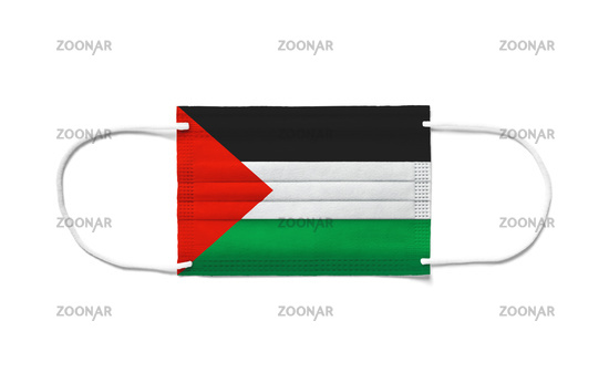 Flag of Palestine on a disposable surgical mask. White background