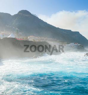 Ocean bathes lava pools Madeira