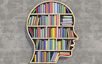 Shelf in the shape of a head stocked with colorful books.