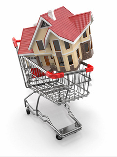 Property market. House in shopping cart. 3d