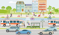 Public transport with public bus, cyclists and pedestrians illustration