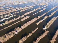 Aerial of the harbour of Scheendijk Loosdrechtse Plassen near Breukelen in The Netherlands. Waterways landscape.