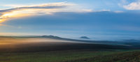 Landscape covered with fog in Central Bohemian Uplands, Czech Republic.