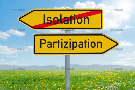 Two direction signs - Isolation or Participation - Isolation oder Partizipation (german)