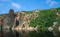 View on the coastline from the sea. High resolution panoramic photo