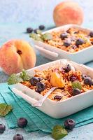 Peach and oatmeal crumble.