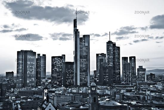 Skyline of Frankfurt monochrome