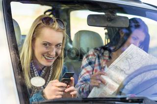 Road trip car lost women search map