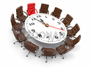 Concept of business meeting or brainstorming. Circle table as clock and armchairs. 3d