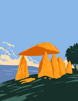 Pentre Ifan Dolmen Monument or Megalithic Tomb Within Nevern Community Pembrokeshire in Wales United Kingdom UK Art Deco WPA Poster Art